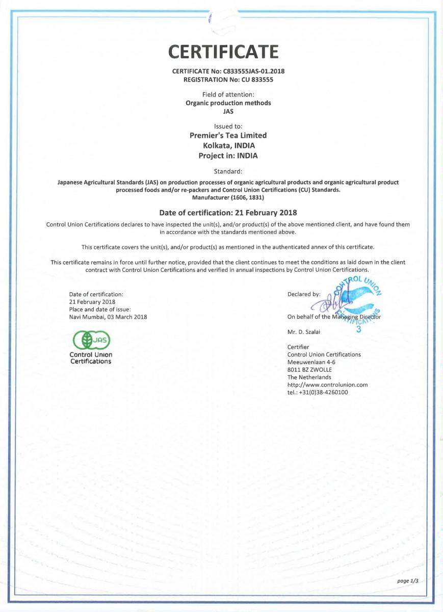 tea certifications jas