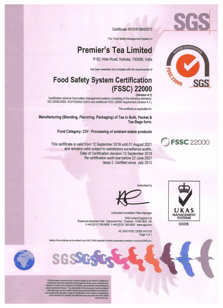 tea certification fssc certifications premier